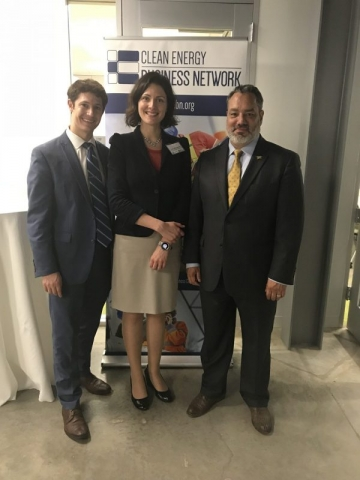 CEBN staff and leadership gather at the forum. L to R: Andy Barnes, Program Manager, CEBN; Lynn Abramson, President, CEBN; and James Jackson, Chairman of the Board, CEBN and Chief Business Development Officer, Thermal Energy Partners.